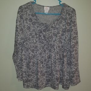 Grey floral maternity top